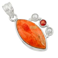 Clearance Sale- 16.73cts natural red sponge coral garnet pearl 925 silver pendant d44543