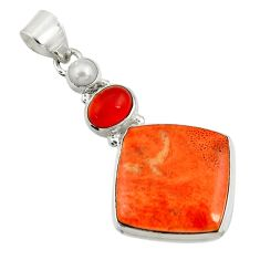 22.02cts natural red sponge coral onyx pearl 925 sterling silver pendant d44560