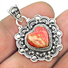 5.79cts natural rhodochrosite inca rose (argentina) silver heart pendant t56129