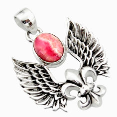 4.37cts natural rhodochrosite inca rose 925 silver feather charm pendant r52891