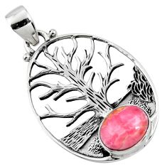4.02cts natural rhodochrosite inca rose 925 silver tree of life pendant r52981