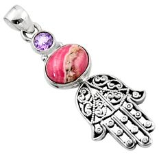 4.94cts natural rhodochrosite inca rose silver hand of god hamsa pendant r52793