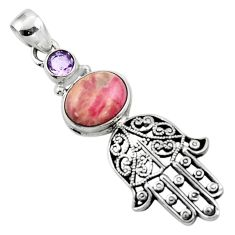 5.46cts natural rhodochrosite inca rose silver hand of god hamsa pendant r52794