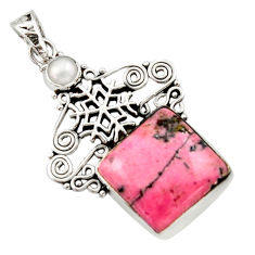 14.99cts natural rhodonite in black manganese silver snowflake pendant d46715