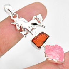 12.34cts natural rose quartz raw garnet rough 925 silver horse pendant r80841