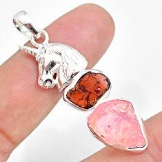 12.34cts natural rose quartz raw garnet rough 925 silver horse pendant r80843