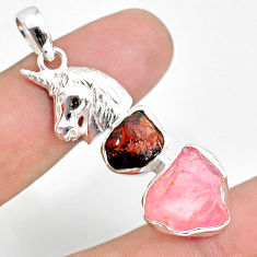 11.95cts natural rose quartz raw garnet rough 925 silver horse pendant r80857