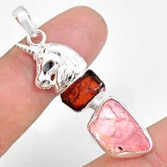 11.71cts natural rose quartz raw garnet rough silver horse pendant r80850