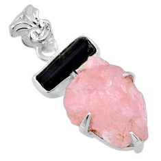 15.90cts natural rose quartz rough tourmaline rough 925 silver pendant r56692