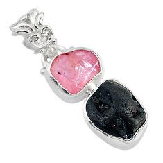 8.84cts natural rose quartz raw tourmaline rough 925 silver pendant t20909