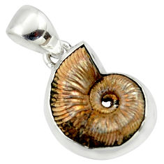 13.87cts natural russian jurassic opal ammonite 925 silver pendant r40086