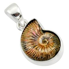 14.90cts natural russian jurassic opal ammonite 925 silver pendant r40089