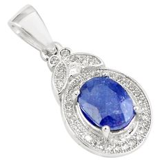 4.75cts natural blue sapphire white topaz 925 sterling silver pendant c18118