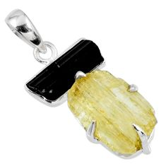 16.12cts natural scapolite tourmaline rough 925 silver pendant jewelry r56665