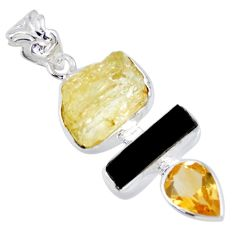 13.87cts natural scapolite tourmaline rough 925 sterling silver pendant r56659