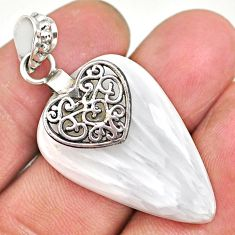 22.66cts natural scolecite high vibration crystal silver heart pendant r91151