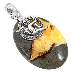 Clearance Sale- 31.22cts natural septarian gonads 925 silver cupid angel wings pendant r91429