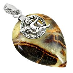 Clearance Sale- 31.15cts natural septarian gonads 925 silver cupid angel wings pendant r91436