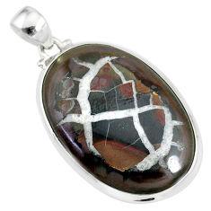 23.30cts natural septarian nodules (dragon stone) 925 silver pendant r86622