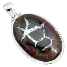 24.00cts natural septarian nodules (dragon stone) 925 silver pendant r86623