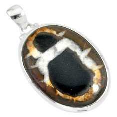 20.88cts natural septarian nodules (dragon stone) 925 silver pendant r86624