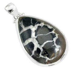 19.42cts natural septarian nodules (dragon stone) 925 silver pendant r86629
