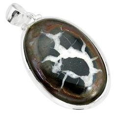 22.30cts natural septarian nodules (dragon stone) 925 silver pendant r86630