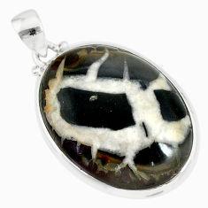23.46cts natural septarian nodules (dragon stone) 925 silver pendant r86633