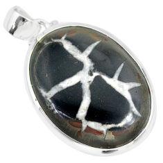 21.68cts natural septarian nodules (dragon stone) 925 silver pendant r86634