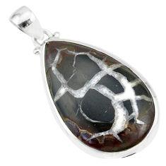 17.39cts natural septarian nodules (dragon stone) 925 silver pendant r86638