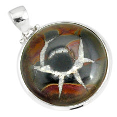 22.30cts natural septarian nodules (dragon stone) 925 silver pendant r86639