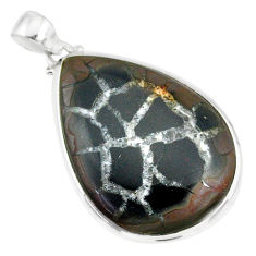 28.10cts natural septarian nodules (dragon stone) 925 silver pendant r86641