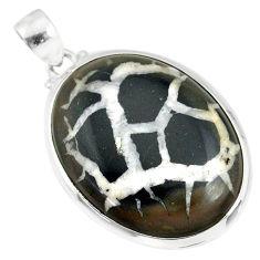 26.19cts natural septarian nodules (dragon stone) 925 silver pendant r86643