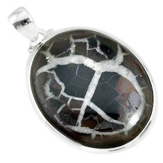 27.93cts natural septarian nodules (dragon stone) 925 silver pendant r86650