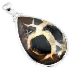 24.50cts natural septarian nodules (dragon stone) 925 silver pendant r86652