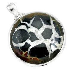 36.19cts natural septarian nodules (dragon stone) 925 silver pendant r86658