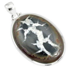 31.00cts natural septarian nodules (dragon stone) 925 silver pendant r86659