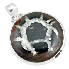 26.13cts natural septarian nodules (dragon stone) 925 silver pendant r86660