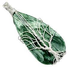 21.53cts natural seraphinite (russian) 925 silver tree of life pendant d47610