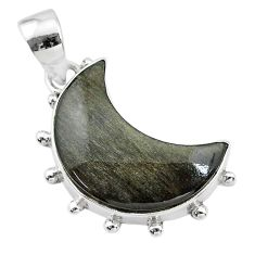 10.72cts natural sheen black obsidian 925 sterling silver moon pendant t21803
