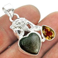 8.40cts natural sheen black obsidian smoky topaz 925 silver fish pendant t55440