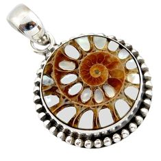 15.85cts natural shell in ammonite 925 sterling silver pendant jewelry r40361
