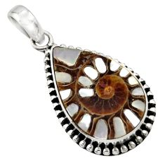 16.47cts natural shell in ammonite 925 sterling silver pendant jewelry r44462