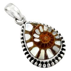 13.51cts natural shell in ammonite 925 sterling silver pendant jewelry r44464