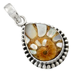 13.02cts natural shell in ammonite 925 sterling silver pendant jewelry r44468