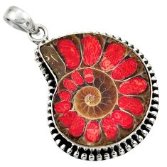 29.35cts natural shell in ammonite 925 sterling silver pendant jewelry r44469