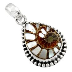 13.01cts natural shell in ammonite 925 sterling silver pendant jewelry r44503