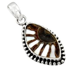 11.18cts natural shell in ammonite 925 sterling silver pendant jewelry r44508