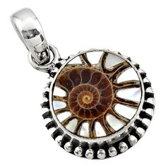 9.96cts natural shell in ammonite 925 sterling silver pendant jewelry r44510