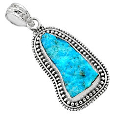 11.18cts natural sleeping beauty turquoise rough raw 925 silver pendant r66638